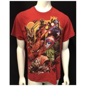 Vintage Marvel Superheroes RED Retro Casual TShirt